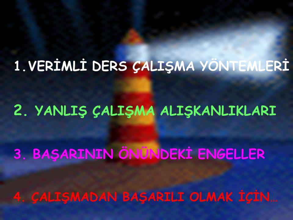 1.VERİMLİ DERS ÇALIŞMA YÖNTEMLERİ 2.YANLIŞ ÇALIŞMA ALIŞKANLIKLARI 3.