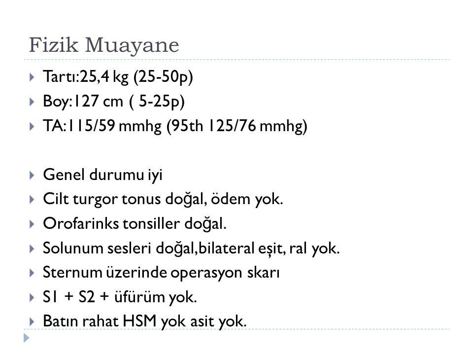 Fizik Muayane  Tartı:25,4 kg (25-50p)  Boy:127 cm ( 5-25p)  TA:115/59 mmhg (95th 125/76 mmhg)  Genel durumu iyi  Cilt turgor tonus do ğ al, ödem yok.