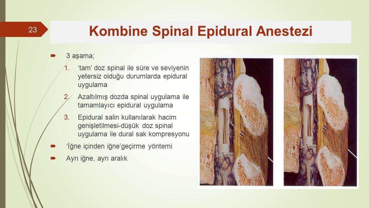  3 aşama; 1.'tam' doz spinal ile süre ve seviyenin yetersiz olduğu durumlarda epidural uygulama 2.Azaltılmış dozda spinal uygulama ile tamamlayıcı epidural uygulama 3.Epidural salin kullanılarak hacim genişletilmesi-düşük doz spinal uygulama ile dural sak kompresyonu  'İğne içinden iğne'geçirme yöntemi  Ayrı iğne, ayrı aralık Kombine Spinal Epidural Anestezi 23