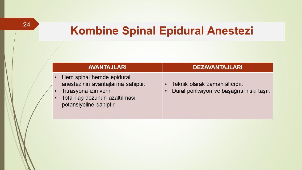 AVANTAJLARIDEZAVANTAJLARI Hem spinal hemde epidural anestezinin avantajlarına sahiptir.