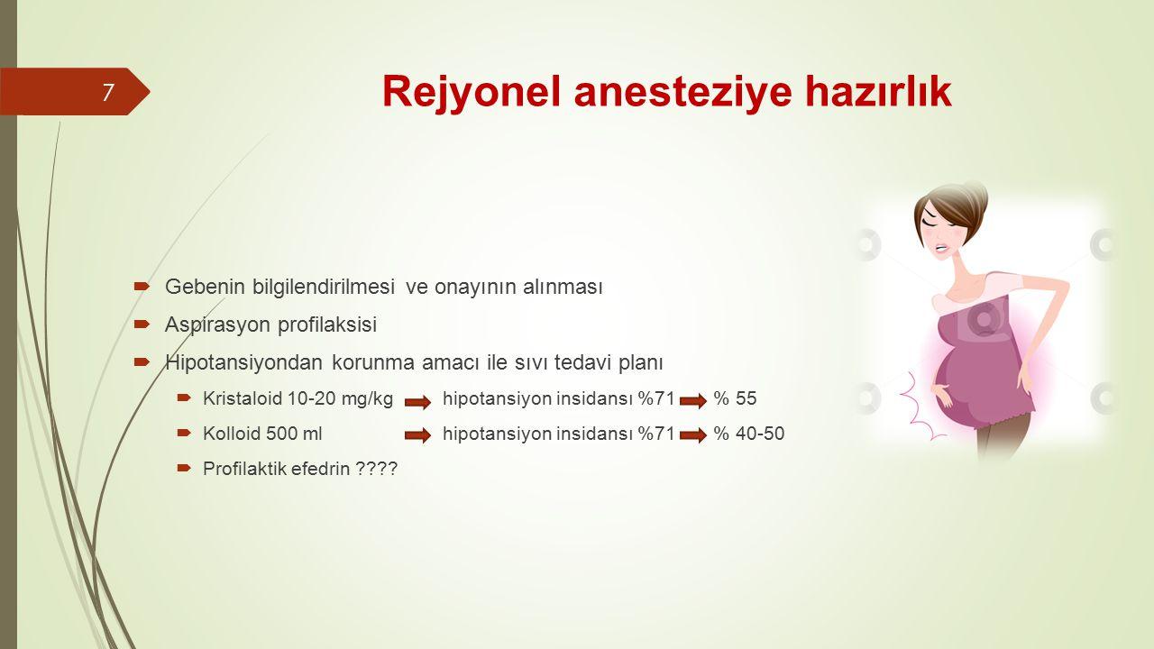 Rejyonel anesteziye hazırlık  Gebenin bilgilendirilmesi ve onayının alınması  Aspirasyon profilaksisi  Hipotansiyondan korunma amacı ile sıvı tedavi planı  Kristaloid 10-20 mg/kg hipotansiyon insidansı %71 % 55  Kolloid 500 ml hipotansiyon insidansı %71 % 40-50  Profilaktik efedrin ???.