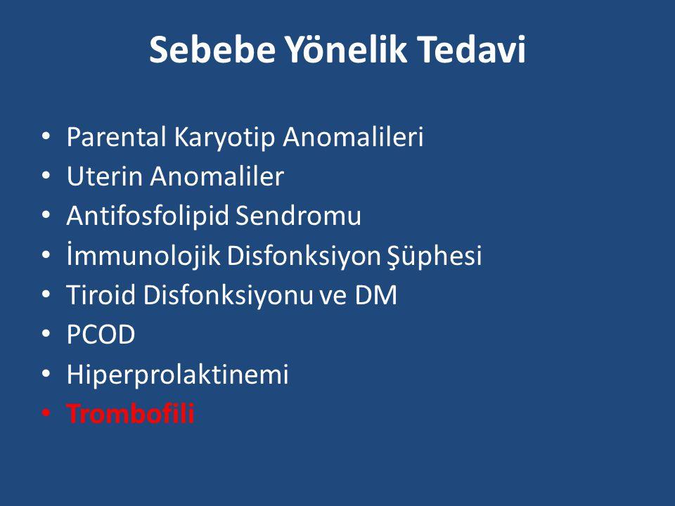 Sebebe Yönelik Tedavi Parental Karyotip Anomalileri Uterin Anomaliler Antifosfolipid Sendromu İmmunolojik Disfonksiyon Şüphesi Tiroid Disfonksiyonu ve DM PCOD Hiperprolaktinemi Trombofili