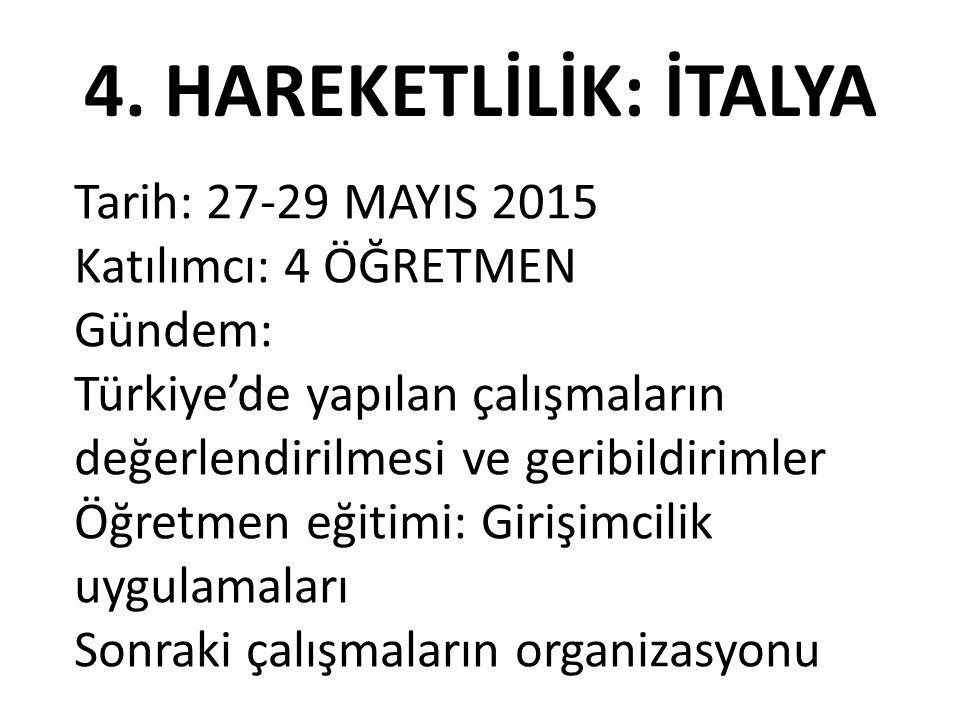 4. HAREKETLİLİK: İTALYA Tarih: 27-29 MAYIS 2015 Katılımcı: 4 ÖĞRETMEN Gündem: Türkiye'de yapılan çalışmaların değerlendirilmesi ve geribildirimler Öğr