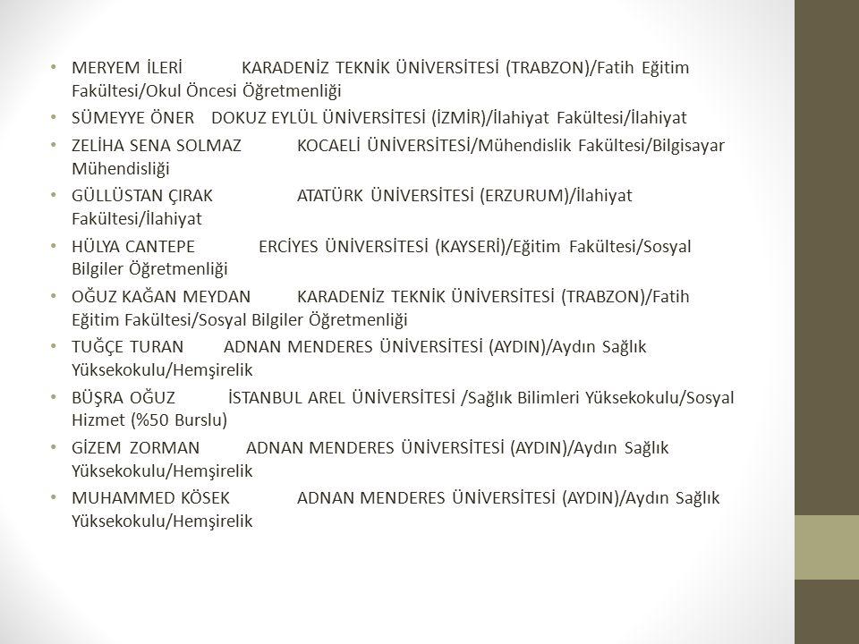 MAYGÜL ÇAMURLUBİLECİK ŞEYH EDEBALİ ÜNİVERSİTESİ/Sağlık Yüksekokulu/Hemşirelik ÖZLEM KURTGAZİOSMANPAŞA ÜNİVERSİTESİ (TOKAT)/Tokat Sağlık Yüksekokulu/Hemşirelik ZEHRA KARAKOYUNLU ORDU ÜNİVERSİTESİ/Fen-Edebiyat Fakültesi/Türk Dili ve Edebiyatı (İÖ) HASAN BATKARADENİZ TEKNİK ÜNİVERSİTESİ (TRABZON)/Mühendislik Fakültesi/Harita Mühendisliği GÖKHAN BOLLUKSÜLEYMAN DEMİREL ÜNİVERSİTESİ (ISPARTA)/Isparta Sağlık Hizmetleri Meslek Yüksekokulu/Tıbbi Laboratuvar Teknikleri (İÖ) SİMGE TANRIVERDİBÜLENT ECEVİT ÜNİVERSİTESİ (ZONGULDAK)/Zonguldak Sağlık Yüksekokulu/Hemşirelik DERYA ÇETİNNEVŞEHİR HACI BEKTAŞ VELİ ÜNİVERSİTESİ/Fen- Edebiyat Fakültesi/Sosyoloji EDAOĞANADNAN MENDERES ÜNİVERSİTESİ (AYDIN)/Fen- Edebiyat Fakültesi/Sosyoloji