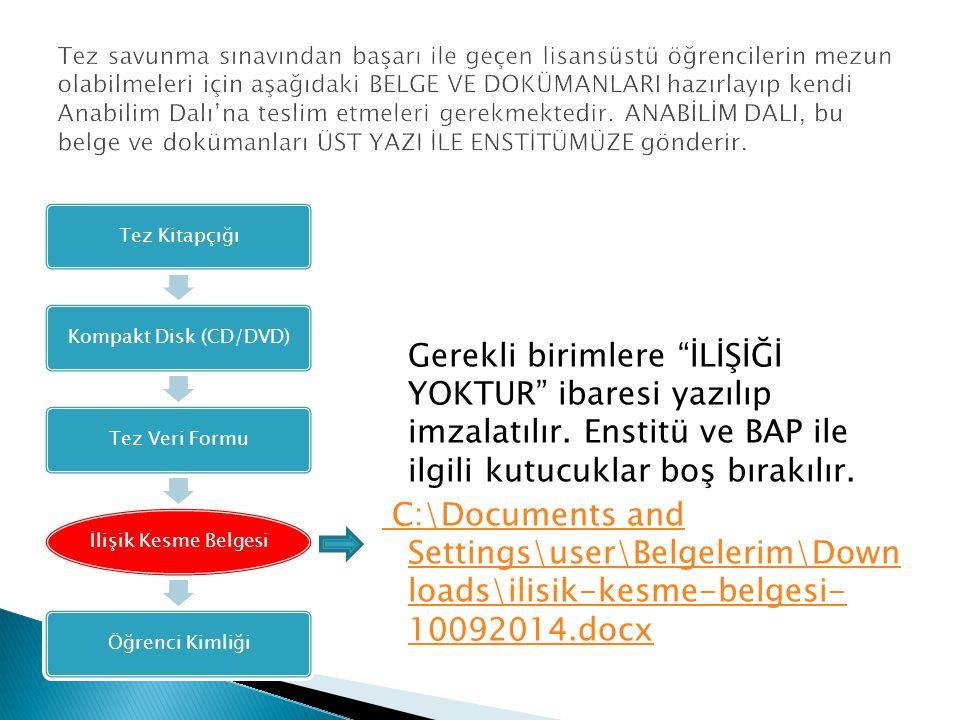 """Gerekli birimlere """"İLİŞİĞİ YOKTUR"""" ibaresi yazılıp imzalatılır. Enstitü ve BAP ile ilgili kutucuklar boş bırakılır. C:\Documents and Settings\user\Bel"""