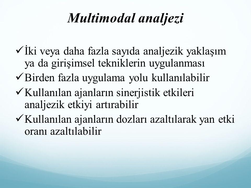 Multimodal analjezi İki veya daha fazla sayıda analjezik yaklaşım ya da girişimsel tekniklerin uygulanması Birden fazla uygulama yolu kullanılabilir K