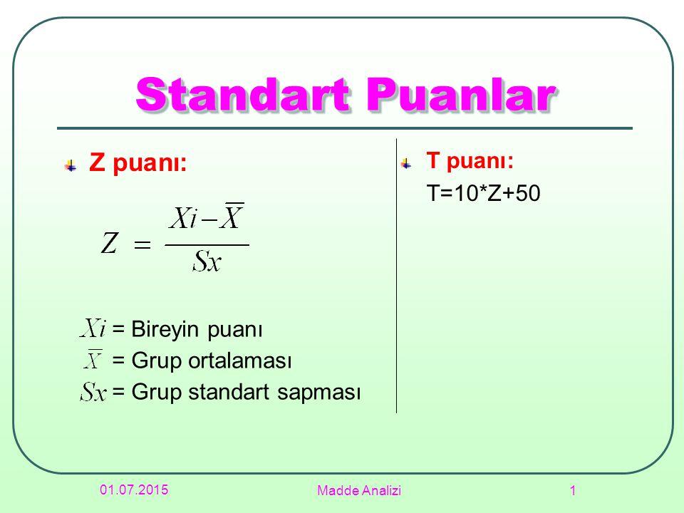 01.07.2015 Madde Analizi 1 Standart Puanlar Z puanı: T puanı: T=10*Z+50 = Bireyin puanı = Grup ortalaması = Grup standart sapması