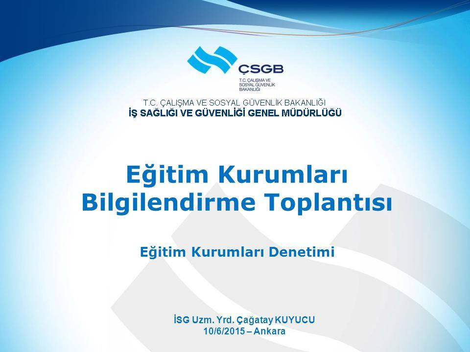 Eğitim Kurumları Bilgilendirme Toplantısı Eğitim Kurumları Denetimi İSG Uzm.