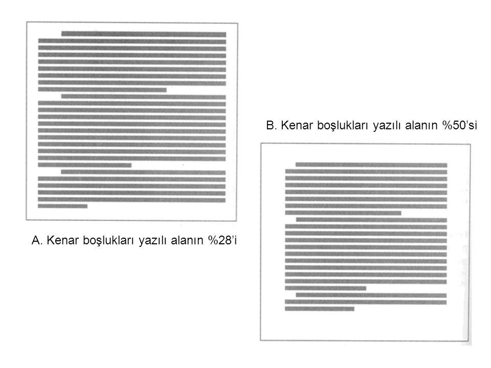 A. Kenar boşlukları yazılı alanın %28'i B. Kenar boşlukları yazılı alanın %50'si