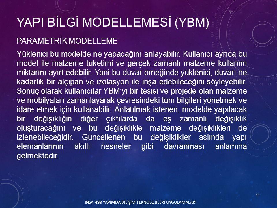 13 INSA 498 YAPIMDA BİLİŞİM TEKNOLOJİLERİ UYGULAMALARI PARAMETRİK MODELLEME Yüklenici bu modelde ne yapacağını anlayabilir. Kullanıcı ayrıca bu model