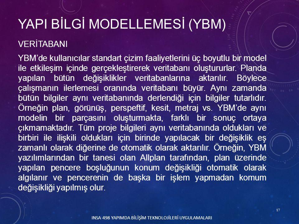 17 INSA 498 YAPIMDA BİLİŞİM TEKNOLOJİLERİ UYGULAMALARI VERİTABANI YBM'de kullanıcılar standart çizim faaliyetlerini üç boyutlu bir model ile etkileşim