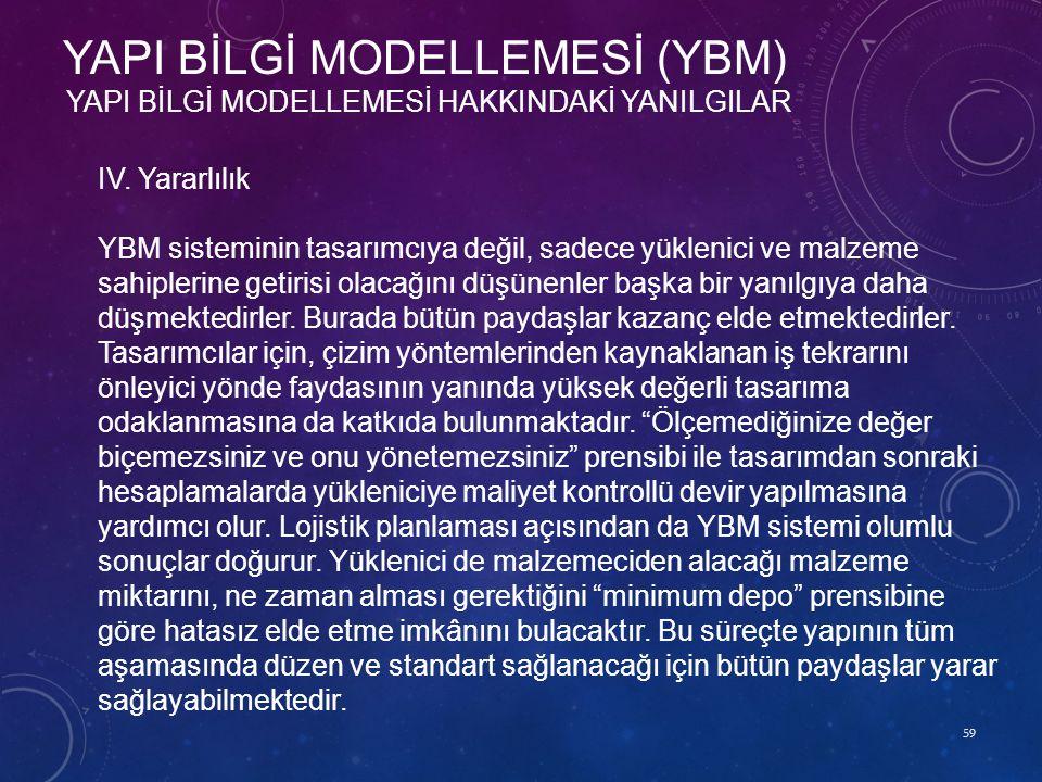 59 YAPI BİLGİ MODELLEMESİ HAKKINDAKİ YANILGILAR YAPI BİLGİ MODELLEMESİ (YBM) IV. Yararlılık YBM sisteminin tasarımcıya değil, sadece yüklenici ve malz