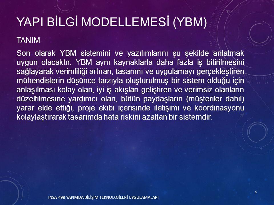 17 INSA 498 YAPIMDA BİLİŞİM TEKNOLOJİLERİ UYGULAMALARI VERİTABANI YBM'de kullanıcılar standart çizim faaliyetlerini üç boyutlu bir model ile etkileşim içinde gerçekleştirerek veritabanı oluştururlar.