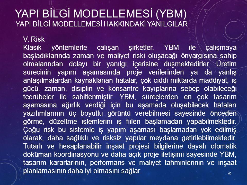 60 YAPI BİLGİ MODELLEMESİ HAKKINDAKİ YANILGILAR YAPI BİLGİ MODELLEMESİ (YBM) V. Risk Klasik yöntemlerle çalışan şirketler, YBM ile çalışmaya başladıkl