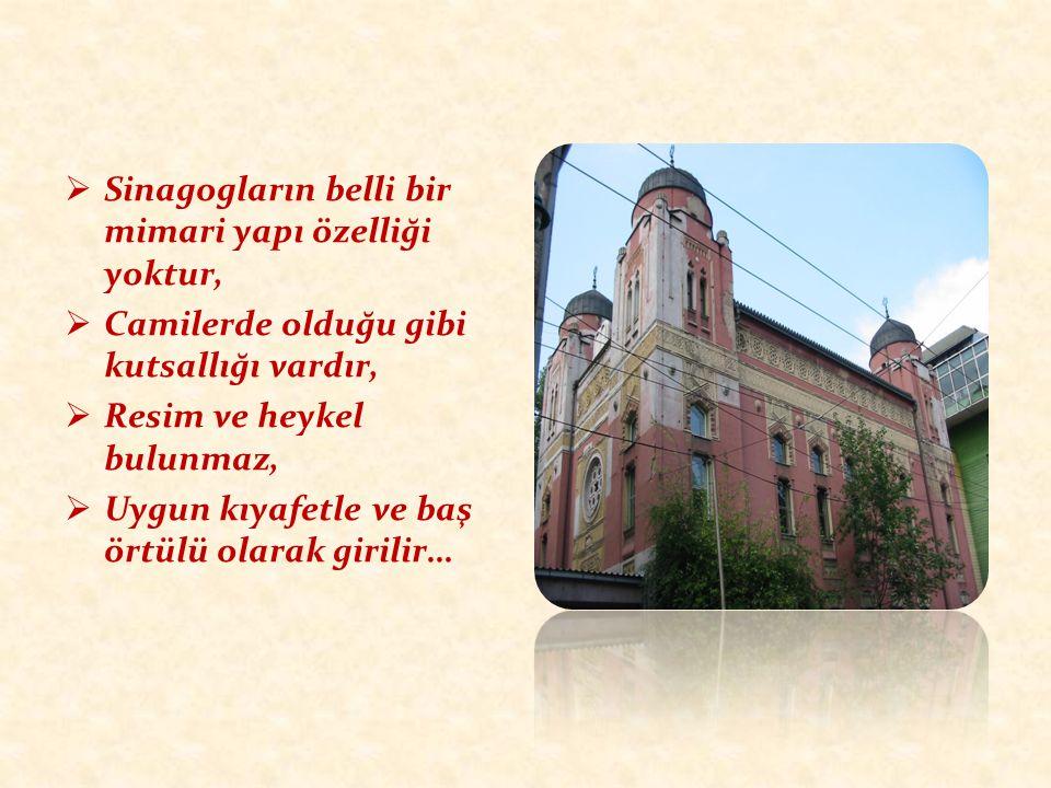  Sinagogların belli bir mimari yapı özelliği yoktur,  Camilerde olduğu gibi kutsallığı vardır,  Resim ve heykel bulunmaz,  Uygun kıyafetle ve baş