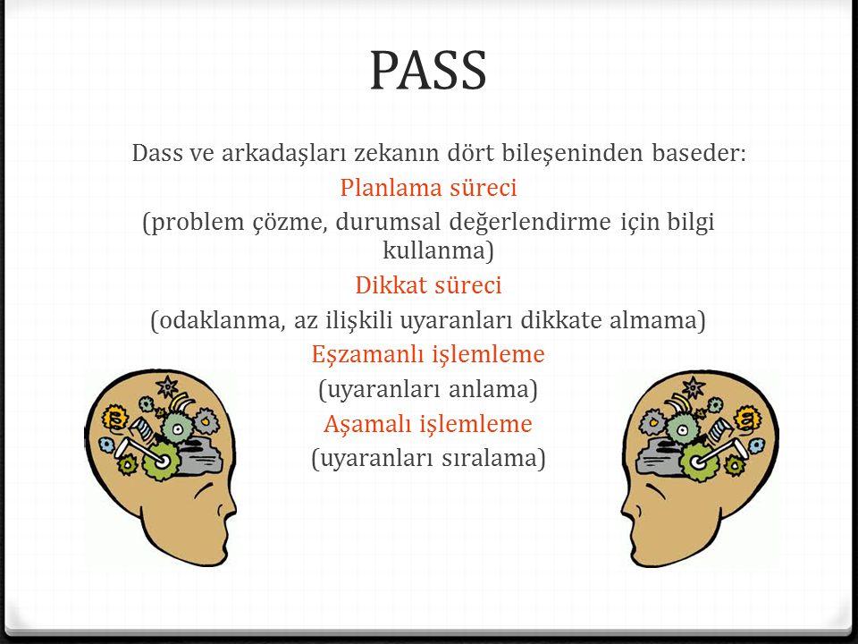 PASS Dass ve arkadaşları zekanın dört bileşeninden baseder: Planlama süreci (problem çözme, durumsal değerlendirme için bilgi kullanma) Dikkat süreci