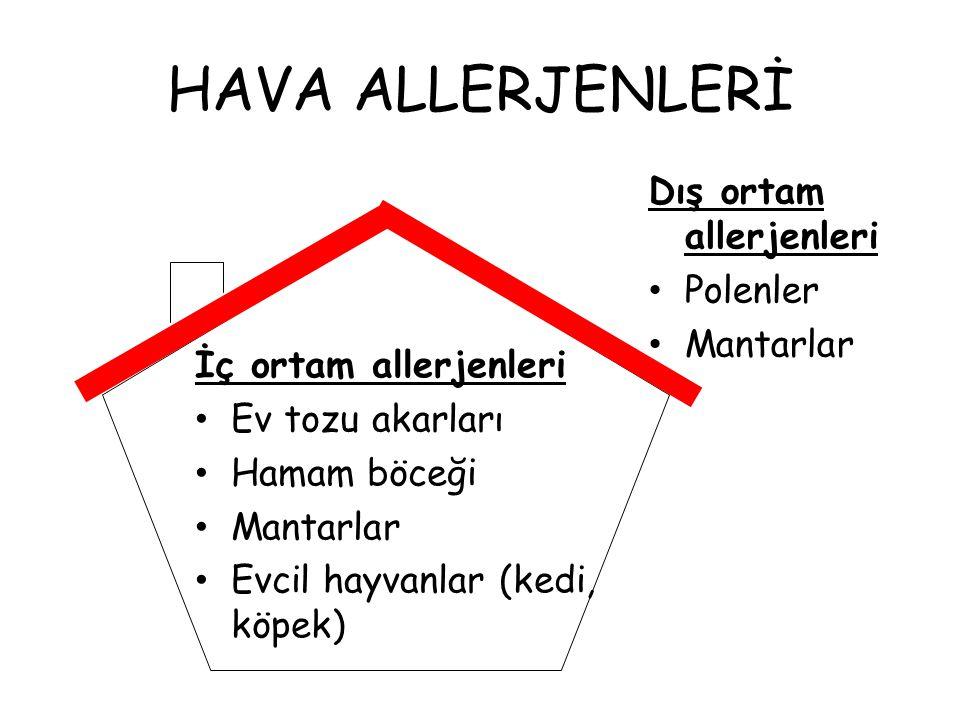HAVA ALLERJENLERİ İç ortam allerjenleri Ev tozu akarları Hamam böceği Mantarlar Evcil hayvanlar (kedi, köpek) Dış ortam allerjenleri Polenler Mantarla
