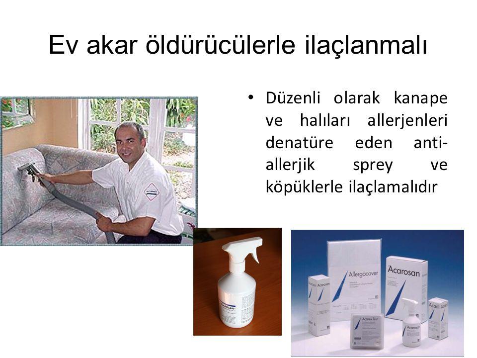 Ev akar öldürücülerle ilaçlanmalı Düzenli olarak kanape ve halıları allerjenleri denatüre eden anti- allerjik sprey ve köpüklerle ilaçlamalıdır