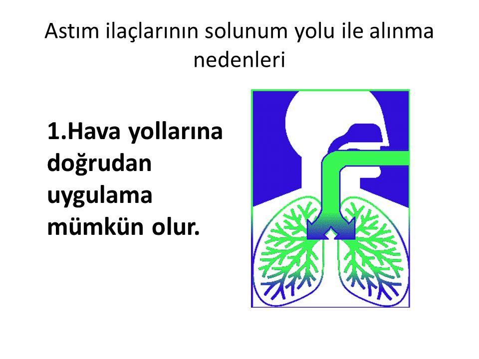 Astım ilaçlarının solunum yolu ile alınma nedenleri 1.Hava yollarına doğrudan uygulama mümkün olur.