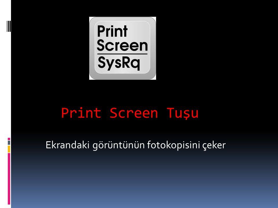 Print Screen Tuşu Ekrandaki görüntünün fotokopisini çeker
