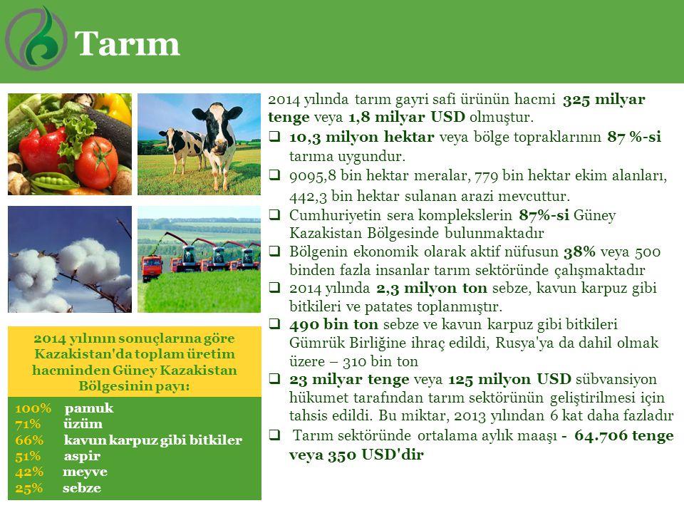 2014 yılında tarım gayri safi ürünün hacmi 325 milyar tenge veya 1,8 milyar USD olmuştur.  10,3 milyon hektar veya bölge topraklarının 87 %-si tarıma