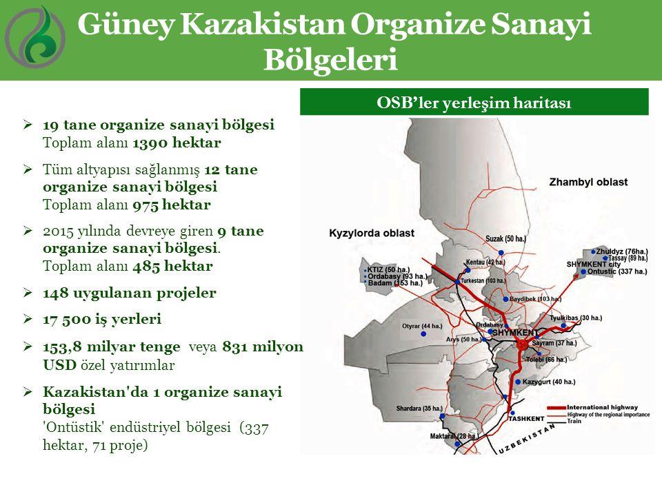 Güney Kazakistan Organize Sanayi Bölgeleri  19 tane organize sanayi bölgesi Toplam alanı 1390 hektar  Tüm altyapısı sağlanmış 12 tane organize sanay