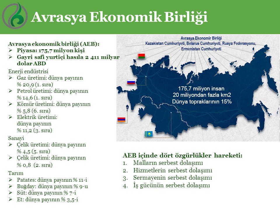 Avrasya Ekonomik Birliği Avrasya ekonomik birliği (AEB):  Piyasa: 175,7 milyon kişi  Gayri safi yurtiçi hasıla 2 411 milyar dolar ABD Enerji endüstr