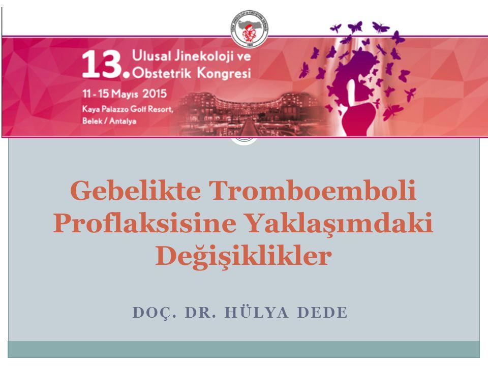 Yüksek risk Önceden geçirilmiş rekurren veya provoke olmayan VTE Önceden geçirilmiş ostrojen ilişkili VTE Geçirilmiş VTE + trombofili Geçirilmiş VTE + VTE aile öyküsü Asemptomatik trombofili ( kombine defektler,homozigot FVL )  Antenatal ve postnatal 6 hafta süreyle profilaktik dozda LMWH önerilir RCOG guidelines 2009 ACOG guidelines 2011 Antepartum Dönemde Tromboflaksi