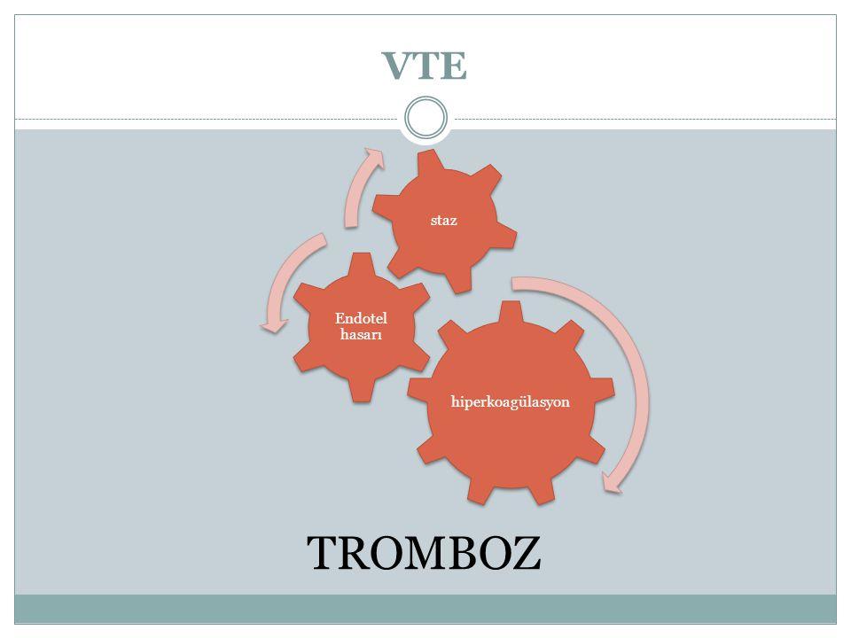 Trombofili Risk Değerlendirme Yüksek Risk - FVL, PT gen homozigot - AT3 eksikliği - Kombine defektler Düşük Risk - FVL, PT gen heterozigot - Protein C ve S defekti Edinsel Trombofili - LA, ACA, APLS MTHFR ve PAI1 defektinde proflaksi gerekmez.