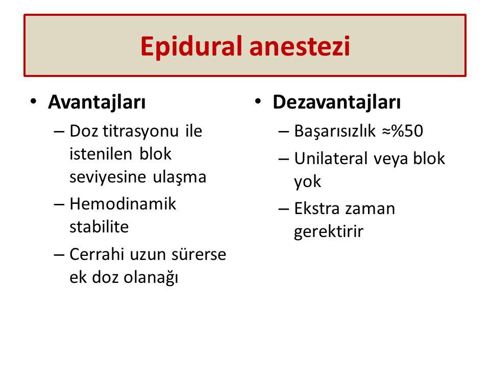 Epidural anestezi Avantajları – Doz titrasyonu ile istenilen blok seviyesine ulaşma – Hemodinamik stabilite – Cerrahi uzun sürerse ek doz olanağı Deza