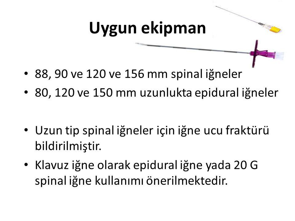 Uygun ekipman 88, 90 ve 120 ve 156 mm spinal iğneler 80, 120 ve 150 mm uzunlukta epidural iğneler Uzun tip spinal iğneler için iğne ucu fraktürü bildirilmiştir.