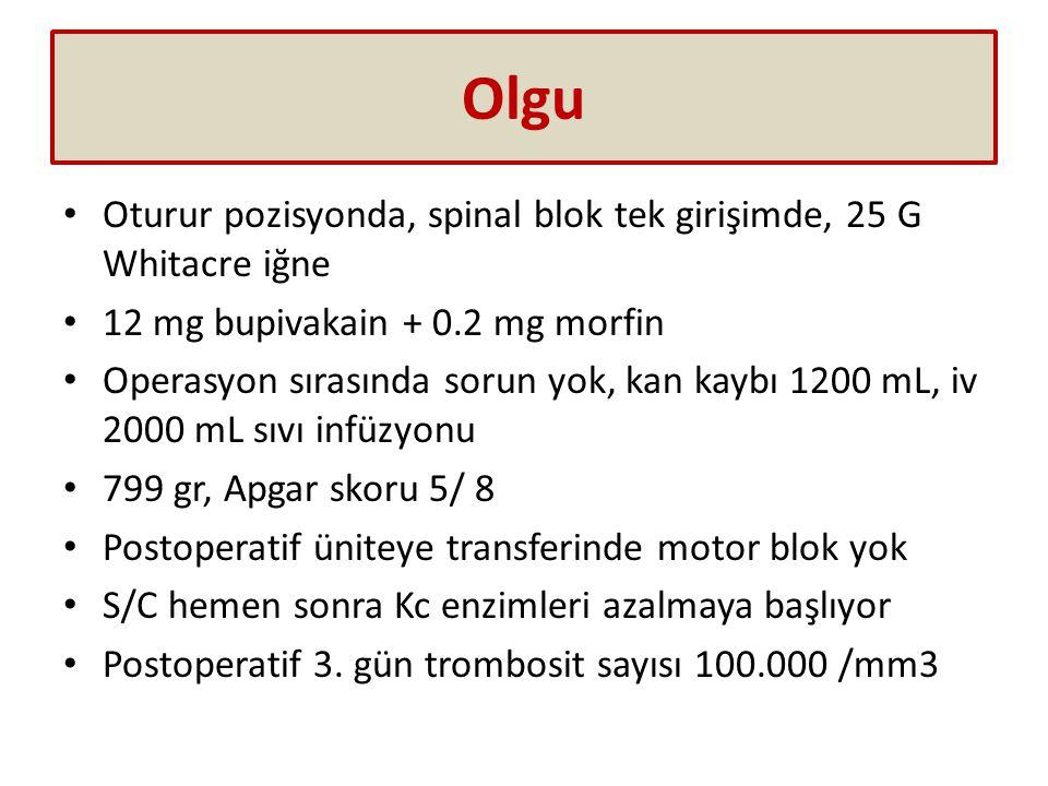 Olgu Oturur pozisyonda, spinal blok tek girişimde, 25 G Whitacre iğne 12 mg bupivakain + 0.2 mg morfin Operasyon sırasında sorun yok, kan kaybı 1200 mL, iv 2000 mL sıvı infüzyonu 799 gr, Apgar skoru 5/ 8 Postoperatif üniteye transferinde motor blok yok S/C hemen sonra Kc enzimleri azalmaya başlıyor Postoperatif 3.