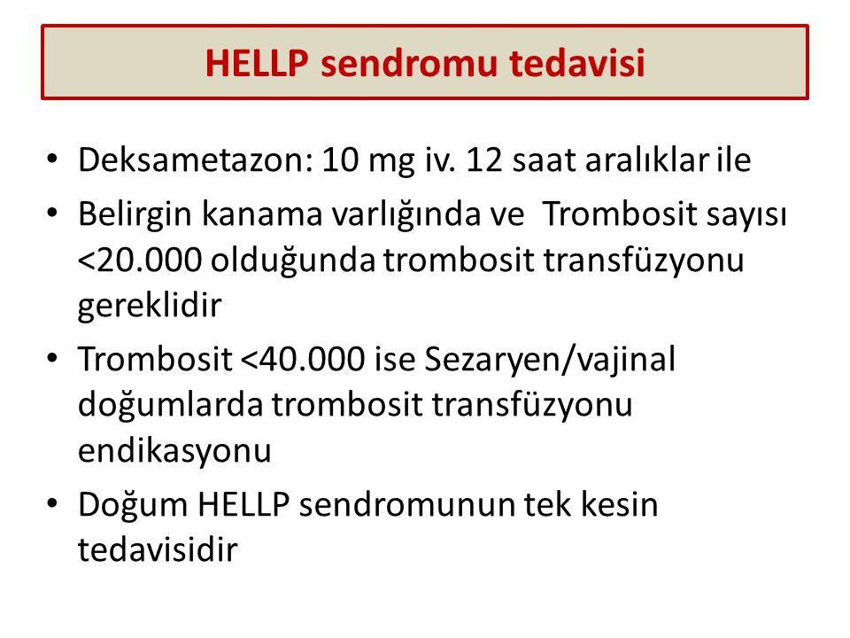 HELLP sendromu tedavisi Deksametazon: 10 mg iv. 12 saat aralıklar ile Belirgin kanama varlığında ve Trombosit sayısı <20.000 olduğunda trombosit trans