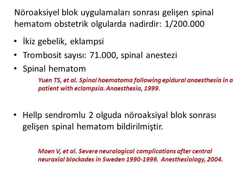 Hellp sendromlu 2 olguda nöroaksiyal blok sonrası gelişen spinal hematom bildirilmiştir. Moen V, et al. Severe neurological complications after centra