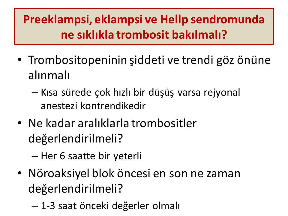 Preeklampsi, eklampsi ve Hellp sendromunda ne sıklıkla trombosit bakılmalı.