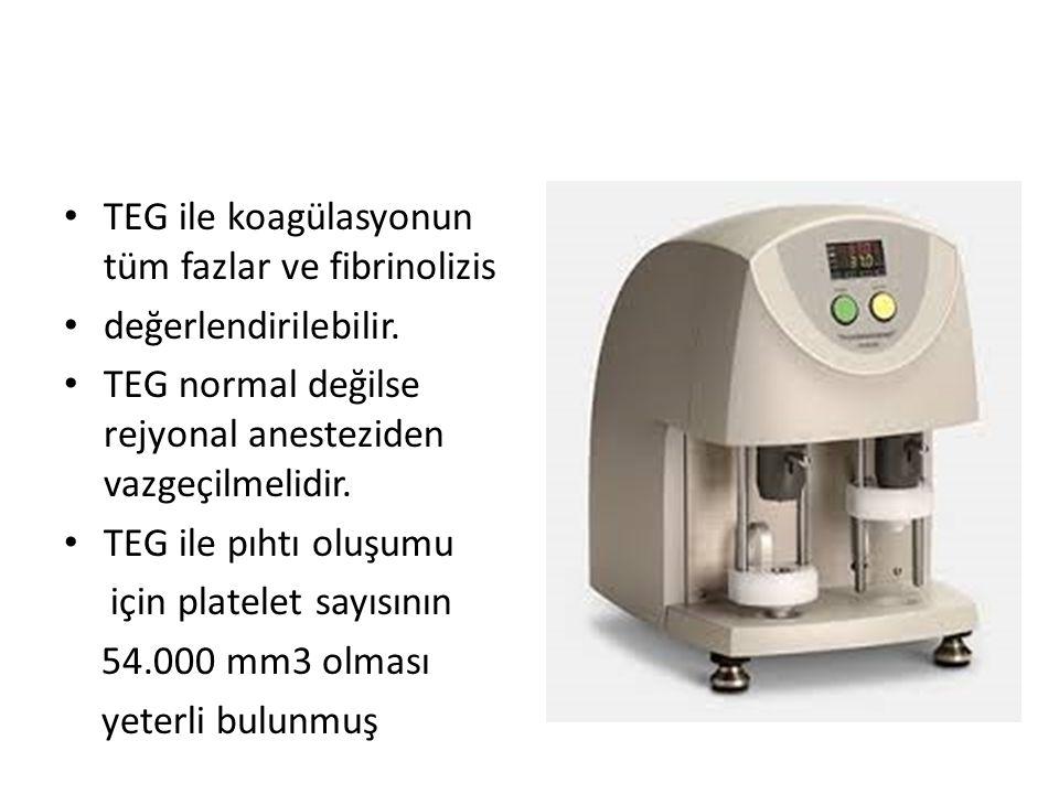 TEG ile koagülasyonun tüm fazlar ve fibrinolizis değerlendirilebilir. TEG normal değilse rejyonal anesteziden vazgeçilmelidir. TEG ile pıhtı oluşumu i