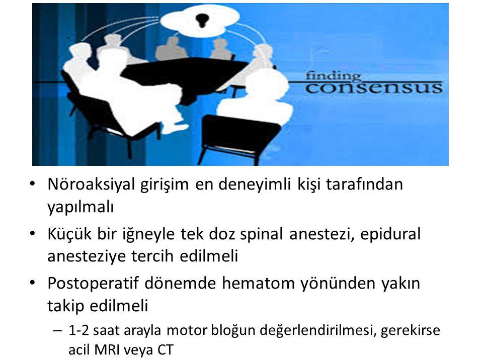 Nöroaksiyal girişim en deneyimli kişi tarafından yapılmalı Küçük bir iğneyle tek doz spinal anestezi, epidural anesteziye tercih edilmeli Postoperatif