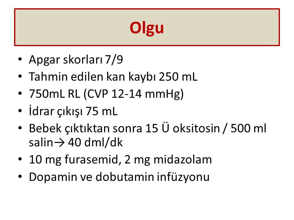 Olgu Apgar skorları 7/9 Tahmin edilen kan kaybı 250 mL 750mL RL (CVP 12-14 mmHg) İdrar çıkışı 75 mL Bebek çıktıktan sonra 15 Ü oksitosin / 500 ml salin→ 40 dml/dk 10 mg furasemid, 2 mg midazolam Dopamin ve dobutamin infüzyonu
