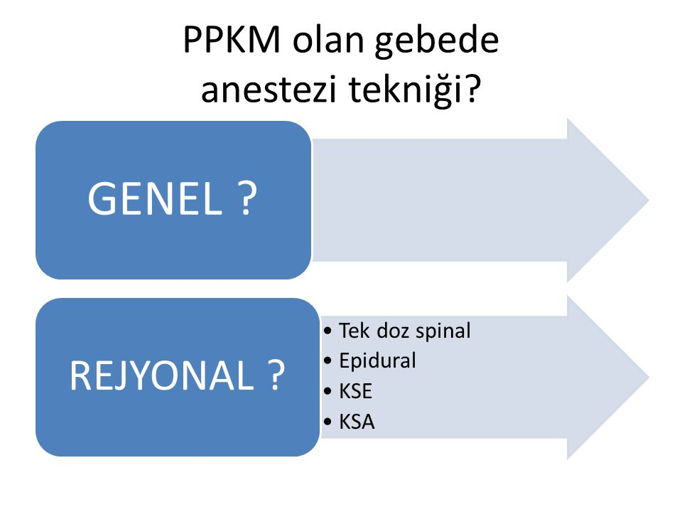 PPKM olan gebede anestezi tekniği? GENEL ? Tek doz spinal Epidural KSE KSA REJYONAL ?