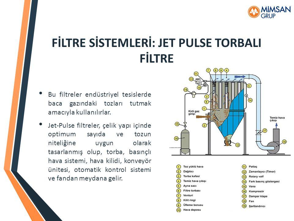 FİLTRE SİSTEMLERİ: JET PULSE TORBALI FİLTRE Bu filtreler endüstriyel tesislerde baca gazındaki tozları tutmak amacıyla kullanılırlar. Jet-Pulse filtre