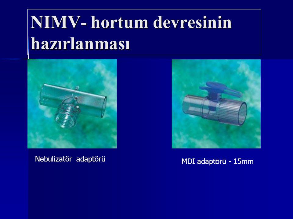 Nebulizatör adaptörü MDI adaptörü - 15mm NIMV- hortum devresinin hazırlanması