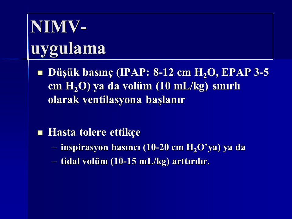 Düşük basınç (IPAP: 8-12 cm H 2 O, EPAP 3-5 cm H 2 O) ya da volüm (10 mL/kg) sınırlı olarak ventilasyona başlanır Düşük basınç (IPAP: 8-12 cm H 2 O, E