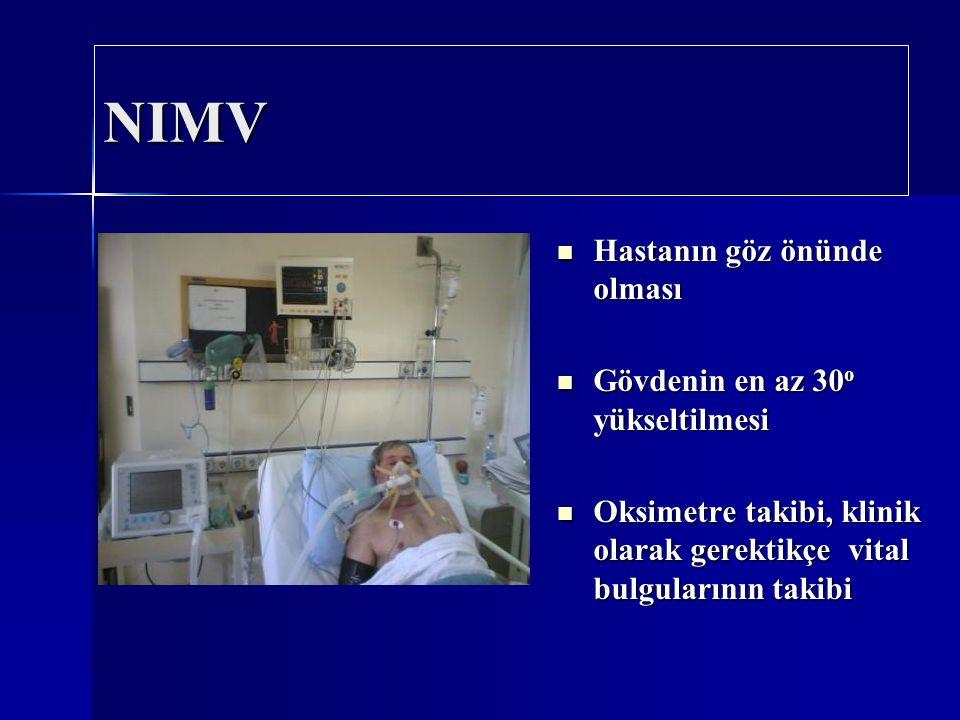 NIMV Hastanın göz önünde olması Hastanın göz önünde olması Gövdenin en az 30 o yükseltilmesi Gövdenin en az 30 o yükseltilmesi Oksimetre takibi, klini