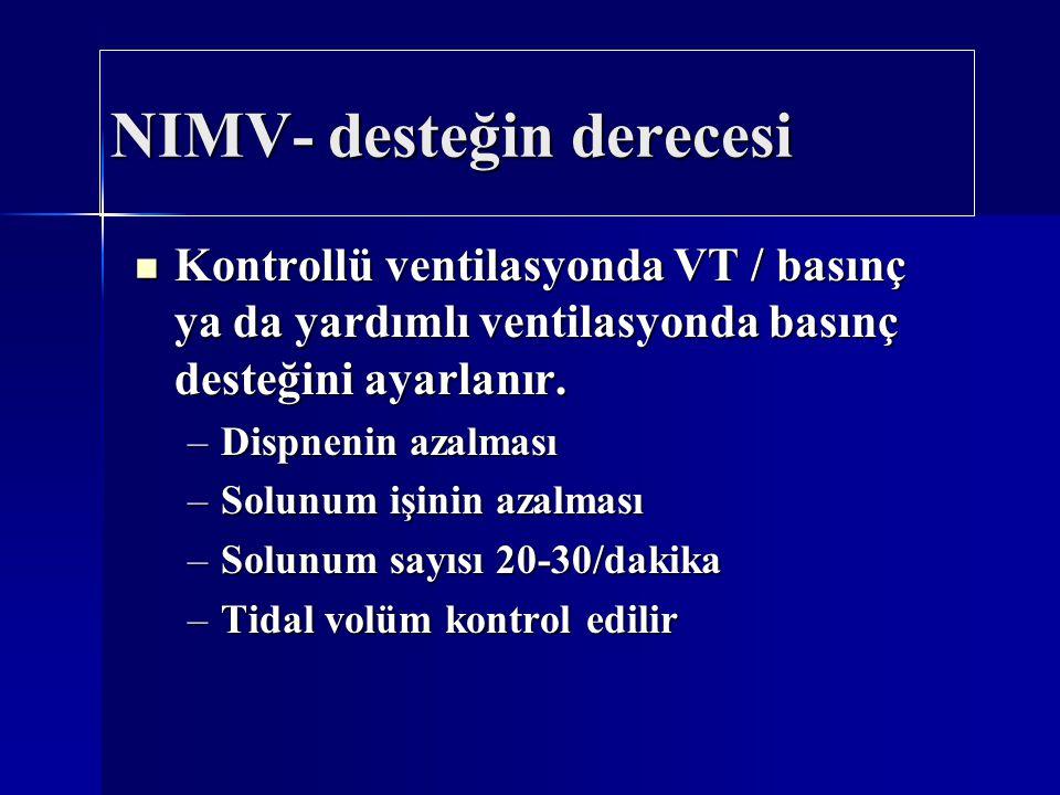 NIMV- desteğin derecesi Kontrollü ventilasyonda VT / basınç ya da yardımlı ventilasyonda basınç desteğini ayarlanır. Kontrollü ventilasyonda VT / bası