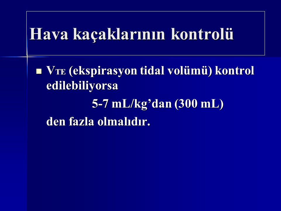 Hava kaçaklarının kontrolü V TE (ekspirasyon tidal volümü) kontrol edilebiliyorsa V TE (ekspirasyon tidal volümü) kontrol edilebiliyorsa 5-7 mL/kg'dan