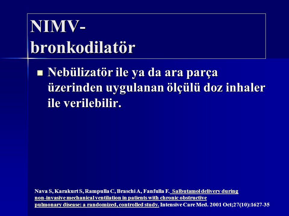 NIMV- bronkodilatör Nebülizatör ile ya da ara parça üzerinden uygulanan ölçülü doz inhaler ile verilebilir. Nebülizatör ile ya da ara parça üzerinden