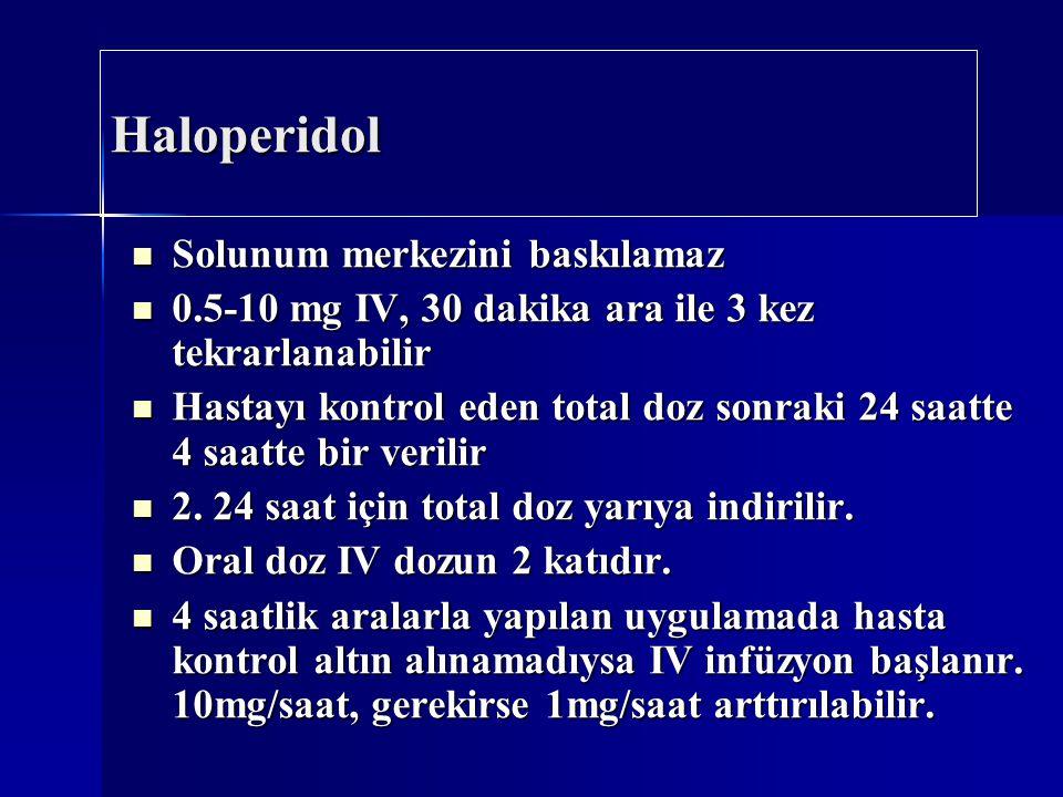 Haloperidol Solunum merkezini baskılamaz Solunum merkezini baskılamaz 0.5-10 mg IV, 30 dakika ara ile 3 kez tekrarlanabilir 0.5-10 mg IV, 30 dakika ar