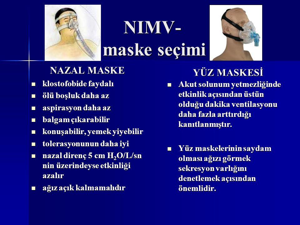 Yüz maskesi NIMV-maske seçimi yüz anatomisine uygunluk Nazal maske NAZAL MASKE Burun sırtı Burun sırtı Burun deliklerinin yan tarafı Burun deliklerinin yan tarafı Üst dudak üstü burun deliklerine en yakın nokta Üst dudak üstü burun deliklerine en yakın nokta YÜZ MASKESİ Burun sırtı Burun sırtı Ağız yan kısımları Ağız yan kısımları Alt dudak altı Alt dudak altı