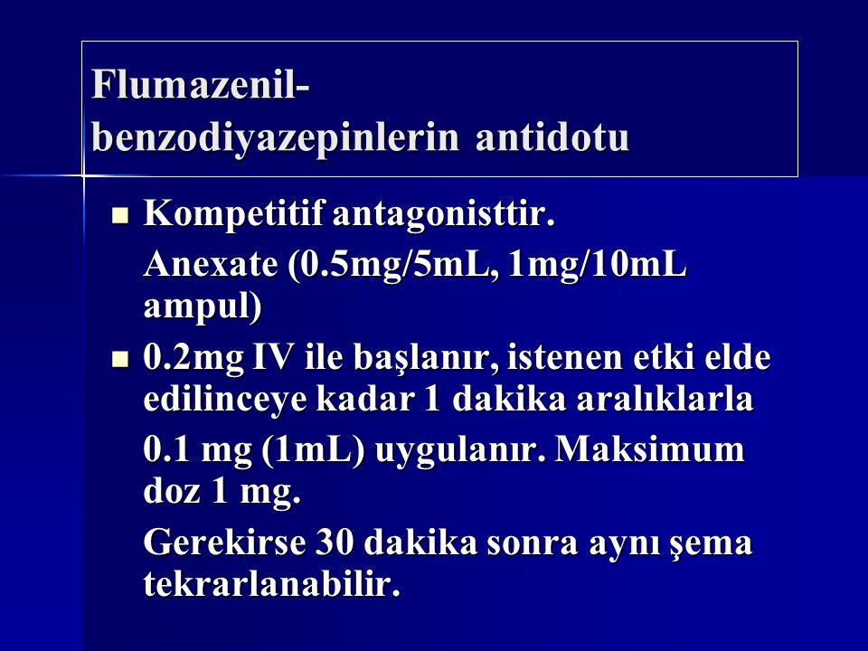 Flumazenil- benzodiyazepinlerin antidotu Kompetitif antagonisttir. Kompetitif antagonisttir. Anexate (0.5mg/5mL, 1mg/10mL ampul) 0.2mg IV ile başlanır
