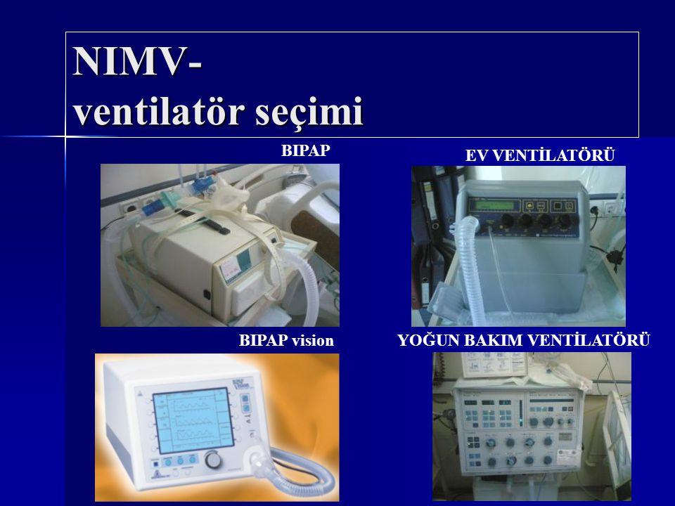 NIMV- desteğin derecesi Kontrollü ventilasyonda VT / basınç ya da yardımlı ventilasyonda basınç desteğini ayarlanır.
